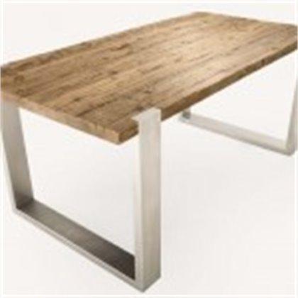 tavolo larice asciato e cotto gambe inox
