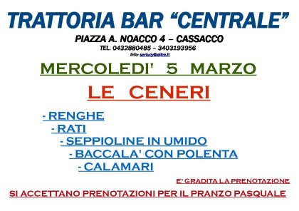 "MERCOLEDI' 5 MARZO, ""LE CENERI"""