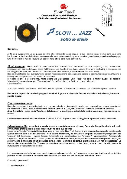 SLOW JAZZ SOTTO LE STELLE