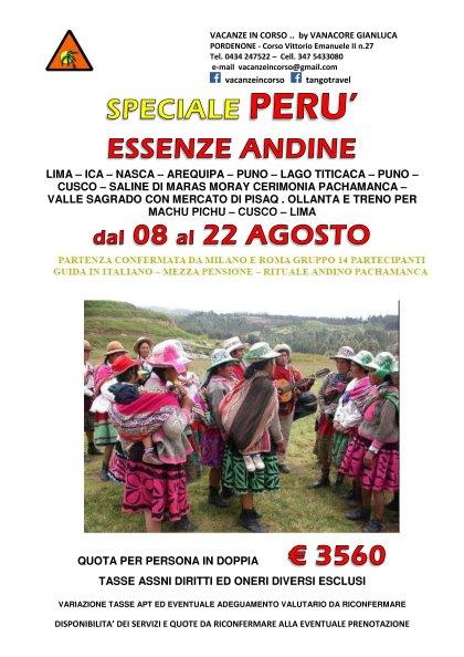 PERU' - PARTENZA SPECIALE 08 AGOSTO 2015