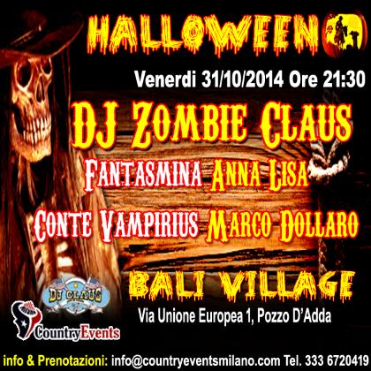 Venerdì 31 ottobre Country Halloween 2014 al Bali Village di Pozzo d'Adda (MI)