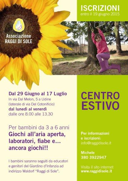 """CENTRO ESTIVO """"RAGGI DI SOLE"""" per bambini da 3 a 6 anni"""