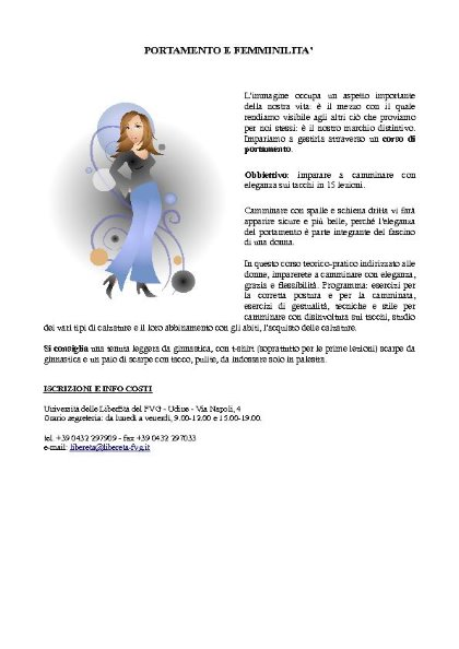 Corso di Portamento e Femminilità a cura di Luisa Fornasiero