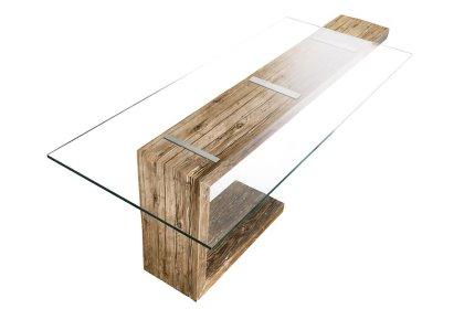 tavolo  legno antico e cristallo