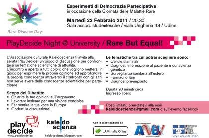 PlayDecide night @ University per la Giornata delle Malattie Rare