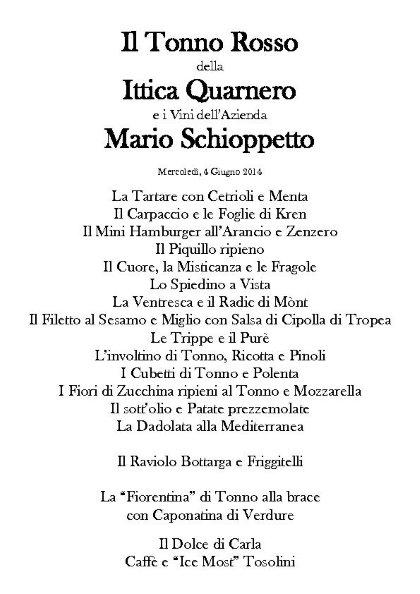 Il Tonno rosso dell'Ittica Quarnero e i vini di Mario Schioppetto, DaNando mercoledì 4 Giugno.