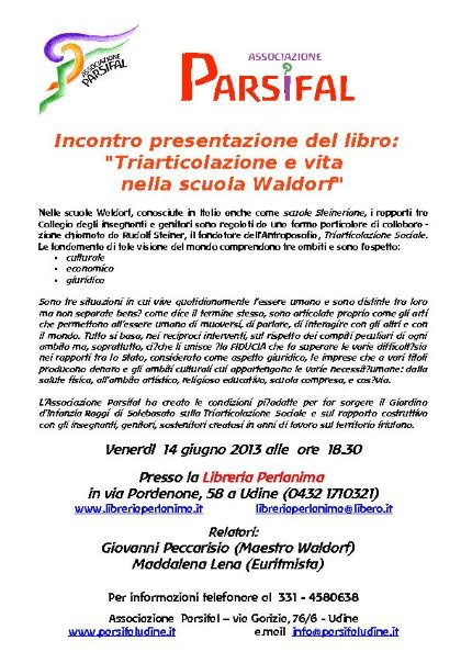 """Incontro presentazione del libro """"Triarticolazione e vita nella scuola Waldorf"""""""