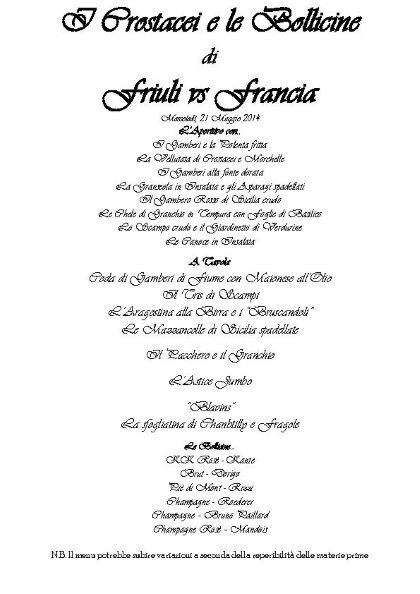 I Crostacei e le Bollicine di Friuli e Francia