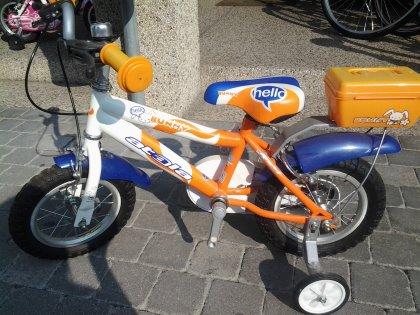 bici da bimbo Atala mod. Bunny con cestino colore arancio/blu