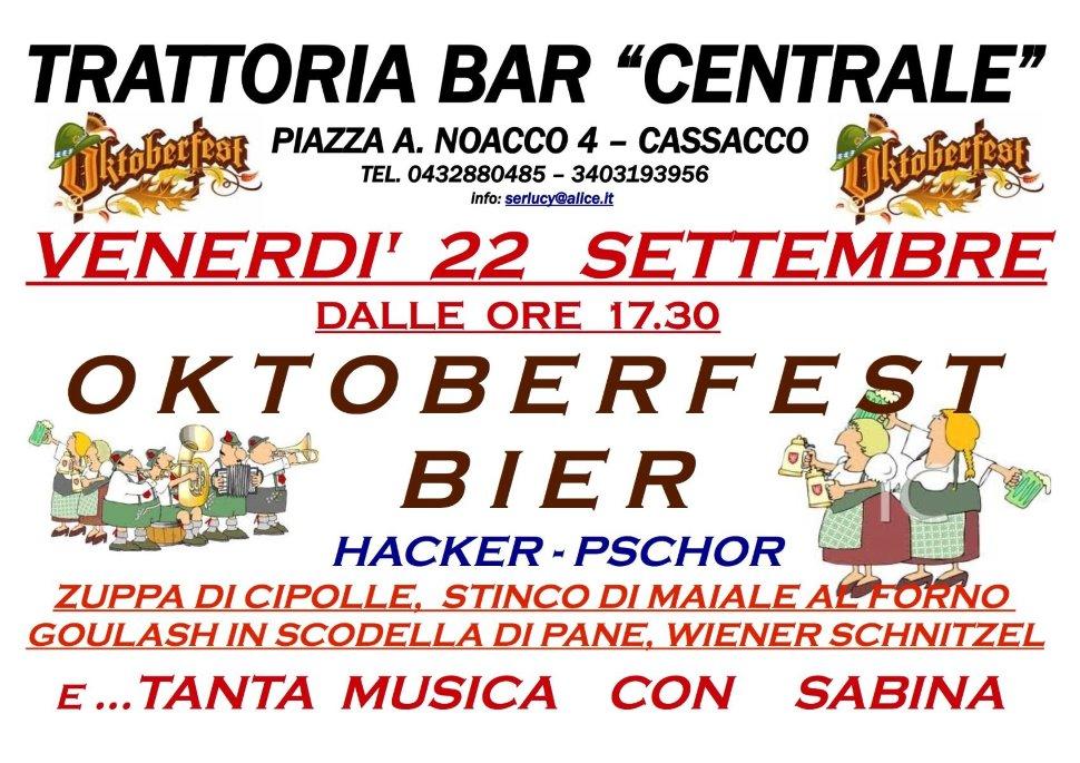 "22 SETTEMBRE BAR TRATTORIA ""CENTRALE"" CASSACCO, OKTOBERFEST-BIER"