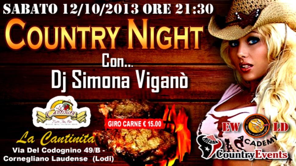 Sabato 12/10/2013 Country Night con Dj Simona Viganò alla Cantinita (Lodi)