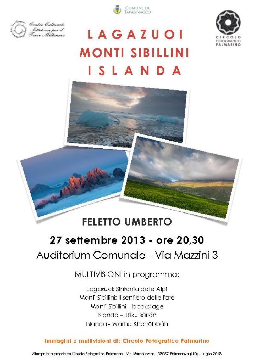 Lagazuoi, Sinfonia delle Alpi - Monti Sibillini - Islanda: I viaggi del CFP - Grande serata di multivisioni