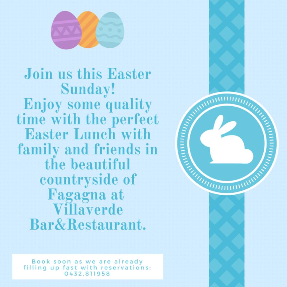 Festeggia la tua Pasqua tra le colline di Fagagna, immerso nel verde del Villaverde Bar&Restaurant