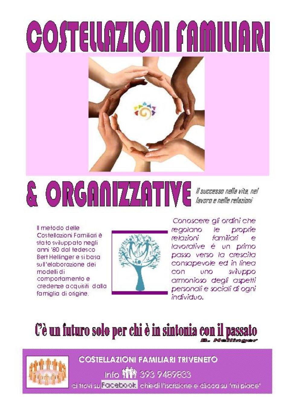 """COSTELLAZIONI FAMILIARI E ORGANIZZATIVE seminario esperienziale """"Il successo nella vita, nel lavoro"""