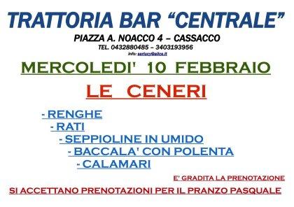 """MERCOLEDI' 10 FEBBRAIO             """" LE CENERI"""" MENU' DEGUSTAZIONE"""