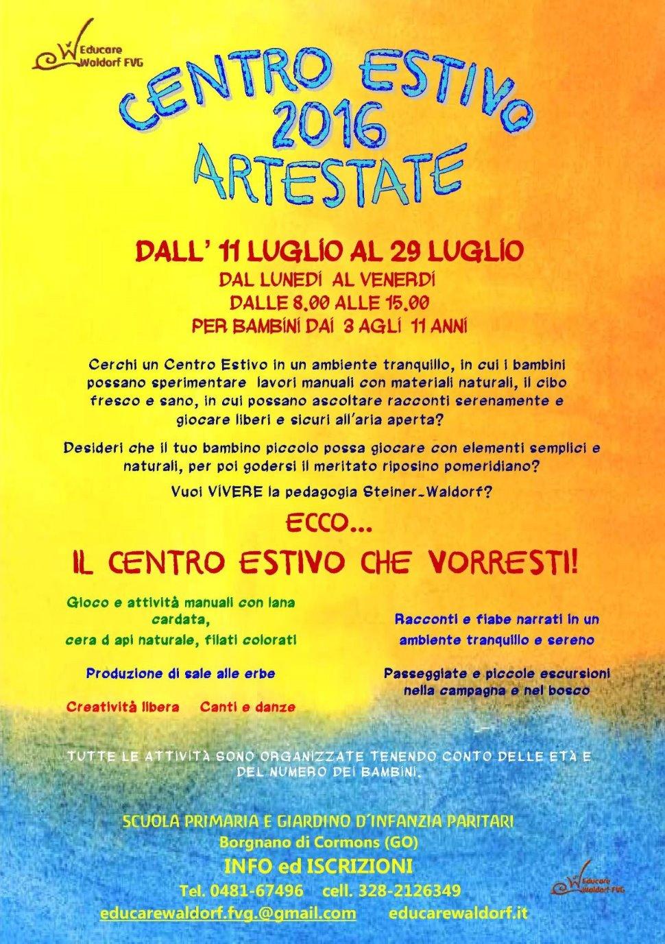 CENTRO ESTIVO PER BAMBINI DAI 3 AGLI 11 ANNI DALL'11 LUGLIO AL 29 LUGLIO dalle 8.00 alle 15.00