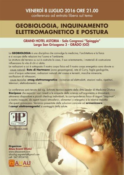 Conferenza ad entrata libera sul tema GEOBIOLOGIA, INQUINAMENTO ELETTROMAGNETICO E POSTURA