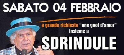 """Non perderti """"une gnot d'amor""""! Il 4 febbraio, alla Fattoria di Pavia, ci sarà il comico friulano Sdrindule. Prenota ora"""